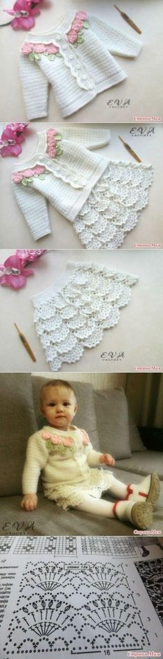 Crochet ideas for baby projects 43 Super ideas Knitting For Kids, Crochet For Kids, Baby Knitting, Knitting Ideas, Crochet Summer, Crochet Toddler Dress, Crochet Baby Clothes, Crochet Skirts, Knit Crochet
