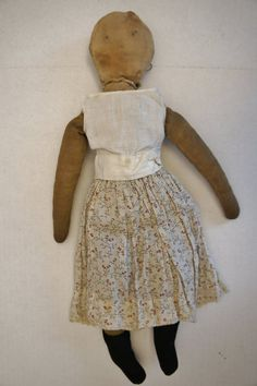 Early cloth rag doll with ink drawn face 16""
