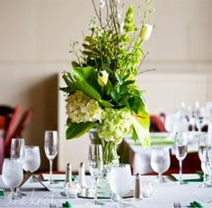Tall Green Center Piece