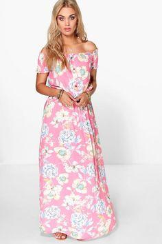 cbf4fe552974b Plus Helen Floral Off The Shoulder Maxi Dress Pink Uk, Casual Day Dresses,  Plus