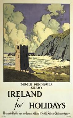 Irish Art Travel Poster Dingle Peninsula, County Kerry, Ireland by Paul Henry the Planet D Posters Uk, Railway Posters, British Travel, Travel Ad, Tourism Poster, Irish Art, Vintage Travel Posters, Ireland Travel, Wanderlust