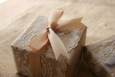 Lace-wrapped kraft paper:)
