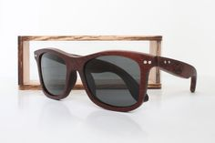 Solid Exotic Wood Sunglasses – Luke Shades, Honduran Rosewood Grey Polarized