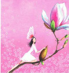 Mila Marquis : Fée sur la tige d'une fleur - Cartes Postales/Cartes Mila Marquis - Lulu Shop
