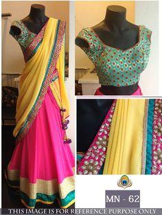 Price @2300.00 INR  Colour : Pink & Yellow  Fabric : Bottom Georgette, Top Fancy Banarasi Silk, Dupatta Georgette With Inner Satin Work :  Thread Work