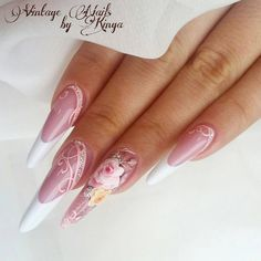 Pink Stiletto Nails, Pink Nails, Gel Nails, Dream Nails, Love Nails, Fancy Nails, Trendy Nails, Weding Nails, Manicure Y Pedicure