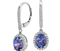 Tanzanite and Diamond Halo Drop Earrings in 14k White Gold (8x6mm)