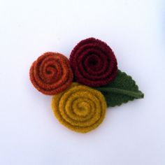 Rescued Wool Flower Pin  Autumn Hues  recycled wool by aliciatodd