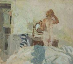huariqueje: Brushing Hair; Summer Morning - Bernard Dunstan British b.1920-