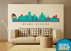 MIAMI Florida Skyline Wall Decal Art Vinyl Removable Vinyl Sticker Living Room Office Decor City