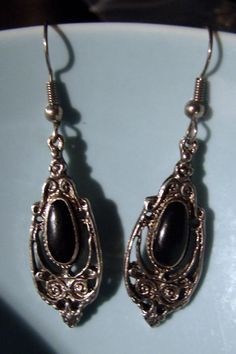 Vintage Silver and Black Stone dangles by AntiqueAlchemists, $10.00