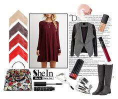 """""""Wine Red Dress"""" by love-blair-serena ❤ liked on Polyvore featuring Balmain, Topshop, Fendi and NARS Cosmetics"""