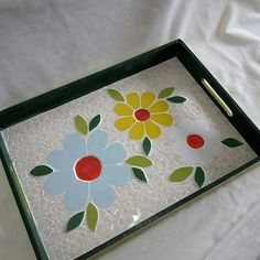 Mosaic Tray, Mosaic Glass, Mosaic Tiles, Mosaic Designs, Mosaic Patterns, Mosaic Artwork, Mosaic Projects, Stained Glass Art, Stone Painting