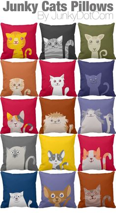 Junky Cats Pillows - 15 cats available in different colors - JunkyDotCom at Zazzle http://www.zazzle.com/junkydotcom*