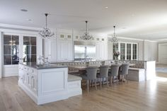 Kitchen Islands as Banquettes--WOW!!!