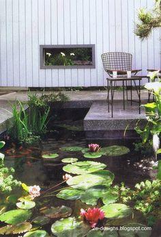 Plantas flotantes con flores y un marco de diseño contemporáneo