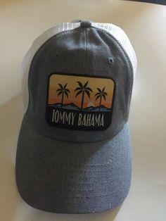 955fca51f03 Tommy Bahama Adjustable Trucker Cap Hat White Light Blue denim look NWT   fashion