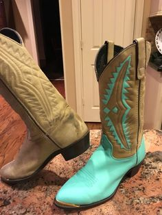 DIY Cowboy boot up-cycle!  We painted these thrift store boots for a fresh new look.  For more painted boot ideas visit www.TooCheapBlondes.com