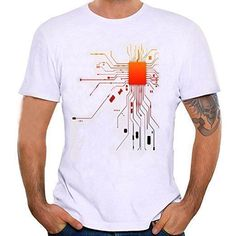 Zulmaliu Men Tee Shirt, Integrate Circuit Printed Polo Shirts For IT Guys Funny Outfit (S, White) #polosoutfit