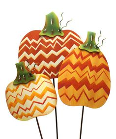 Look what I found on #zulily! Zigzag Trendy Pumpkin Plant Pick Set #zulilyfinds  TheRoundTop Collection Texas