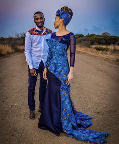 Vuyo and Kopano 💙 Zulu Traditional Wedding, African Traditional Wear, Traditional Dresses Designs, Traditional Outfits, African Print Dresses, African Print Fashion, African Fashion Dresses, African Dress, African Outfits