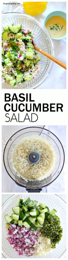 Fresh Basil Cucumber Salad with a Creamy Lemon Dressing. Vegan and gluten free. Light, healthy, crunchy and nourishing. Hydrating and great for youthful, glowing skin! From The Glowing Fridge. Whole Food Recipes, Cooking Recipes, Herb Recipes, Healthy Snacks, Healthy Eating, Healthy Fridge, Vegetarian Recipes, Healthy Recipes, Cucumber Salad