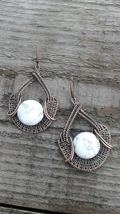 Copper wire wrapped earrings with natural White Howlite stones,Wire jewelry,copper wire earrings,Statement earrings,Bohemian earrings by Tangledworld on Etsy