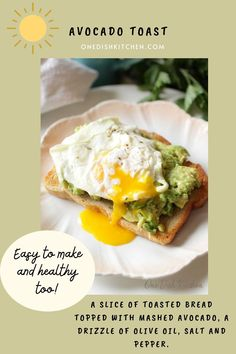 Breakfast couldn't be any easier with this delicious avocado toast recipe. A slice of toasted bread topped with mashed avocado, a drizzle of olive oil, salt and pepper. Easy to make and healthy too. Top wth a tomato slices or an egg if desired. Mashed Avocado, Avocado Toast, Kitchen Dishes, Make It Simple, Stuffed Peppers, Breakfast, Healthy, Easy, Food