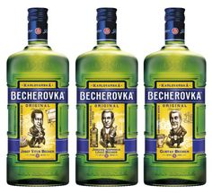A three-bottle special edition set by the oldest Czech liqueur producer Becher to go to sale this year. / Karlovarská Becherovka (JBKB) vydá speciální sběratelskou sérii lahví Becherovky, na kterých budou tři zakladatelé značky Jan Becher. Whiskey Bottle, The Originals, Drinks, News, Design, Drinking, Beverages, Drink, Design Comics