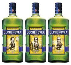 A three-bottle special edition set by the oldest Czech liqueur producer Becher to go to sale this year. / Karlovarská Becherovka (JBKB) vydá speciální sběratelskou sérii lahví Becherovky, na kterých budou tři zakladatelé značky Jan Becher.