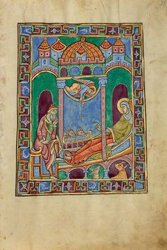 A nativity scene from the St. Albans Psalter, a masterpiece of Romanesque illumination. Medieval Manuscript, Illuminated Manuscript, St Albans, Madonna And Child, Holy Family, Romanesque, The St, Virgin Mary, Fresco