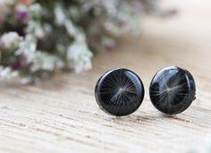 Dandelion Earrings - Dandelion Jewelry , Boho Jewelry , Gifts for Her , Resin Jewelry , Resin Earrings , Black Earrings , Dandelion Seed