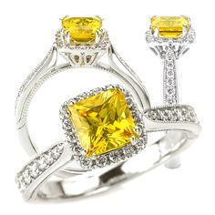 18k created 5.5mm princess cut yellow sapphire engagement ring with natural diamond halo
