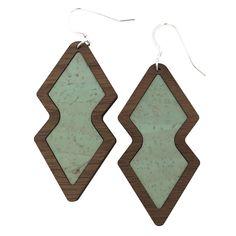 Mint Wood+Cork Double Diamond Earrings