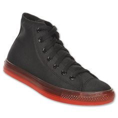 Converse Unisex Chuck Taylor All Star Bright Mid Casual Shoes| FinishLine.com | Black/Red