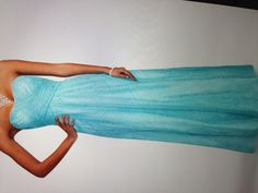 My prom dress from David's Bridal  Dress costs $200, aqua, fitted at the top, very flowy at the bottom. Amazing dress <3