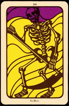 Death Card, Tarot Artist: Nicolas Sidjakov. Super cool bold, graphic color blocked yellow, purple, and black skeleton Death card