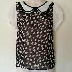 Sheer top with collar Girly sheer top with peter pan collar and slightly puffy short sleeves and buttons down the back. Would look nice to wear with a black or white cami underneath.  Size small. Penelope Tops