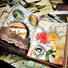 I get a lot of questions about my art journal/sketchbook. Basically it comes down to this: I don't work with a plan, I map nothing out, I just cut and glue and paint and draw and make a mess.…
