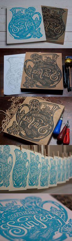 Southern Sun Tea - Block Print by Derrick Castle