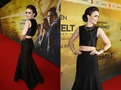 Lily Collin's daring red carpet crop top   @StyleBistro