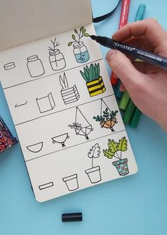 Step-by-step drawing tutorial. Learn how to draw plants with our DIY tutorial. Step-by-step drawing created with Artistro paint pens. Artistro paint pens with extra fine tip are perfect for detailed work. Bullet Journal Paper, Bullet Journal Lettering Ideas, Bullet Journal Notebook, Bullet Journal Ideas Pages, Doodle Art For Beginners, Easy Doodle Art, Easy Doodles, Easy Drawings For Beginners, Easy Art