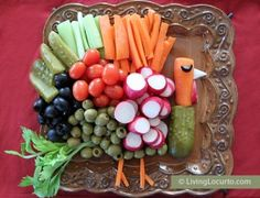 Make a Turkey Vegetable Tray for Thanksgiving! A great way to get kids and adults to eat their veggies. Healthy Party Platter Idea by Amy at Living Locurto.