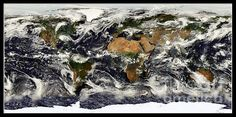"Earth From Nasa Terra Satellite  This photograph of images from NASA'S ""Terra"" (Earth) Satellite was taken by NASA and is in the public domain. The Fine Art America watermark in the lower right hand corner will not be on your finished product. Prices start at $4.30"