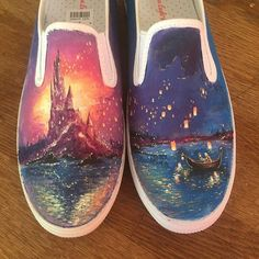 Entwined shoes for Disneybounding - DIY - Schuhe Damen Disney Painted Shoes, Painted Canvas Shoes, Custom Painted Shoes, Painted Vans, Painted Sneakers, Painted Clothes, Hand Painted Shoes, Disney Vans, Disney Shoes