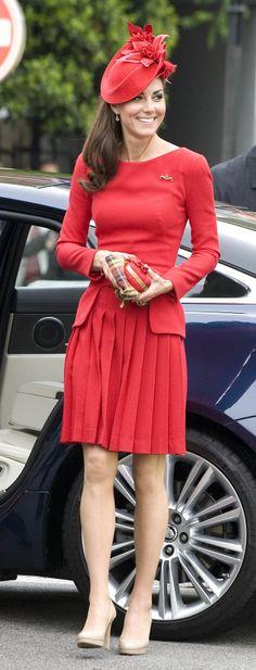 Catherine, Duchess of Cambridge, in Alexander McQueen red dress at the Queen's Diamond Jubilee, 03 June 2012