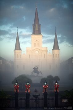 fabulous photo of St. Louis Cathedral in the New Orleans fog at Christmas time. The church is not so ancient but the faith it represents is ancient and relevant today.
