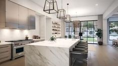 Another amazing digital designed home by the talented. Luxury Kitchen Design, Contemporary Kitchen Design, Luxury Kitchens, Interior Design Kitchen, Home Kitchens, American Kitchen Design, Dream Kitchens, Modern Contemporary, Open Plan Kitchen Living Room