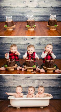 Rustic & Burly Lumberjack Bash {Triplet First Birthday Party}