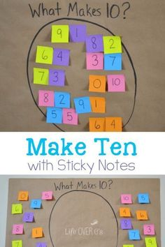 Addition Math Facts Game: Make Ten with Sticky Notes~ a great beginning of the year review for 2nd graders!